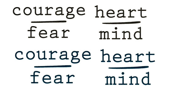 Heart/mind Courage/fear