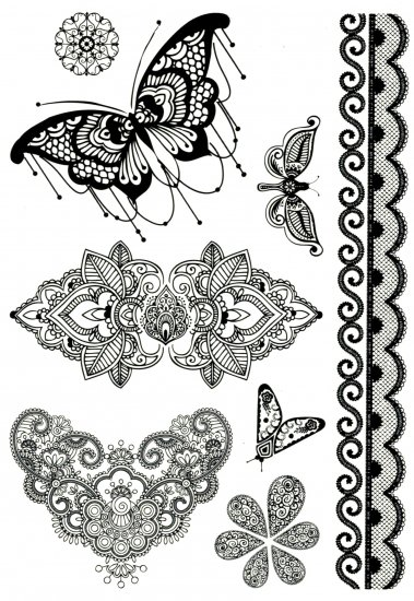 9f89f2070 Mandala butterflies - Temporary tattoo